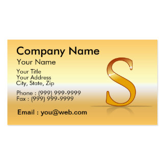 "gold letter ""S "" Business Card Templates"