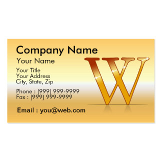 "gold letter ""W "" Business Card"