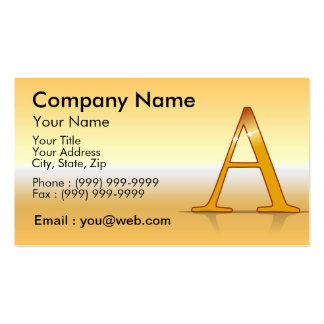 "gold letter ""with "" business card template"