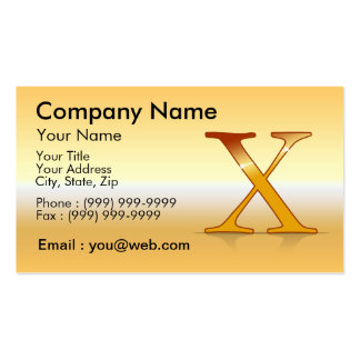 "gold letter ""X "" Business Cards"
