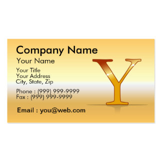 "gold letter ""Y "" Business Cards"
