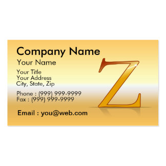 "gold letter ""Z "" Business Card Templates"