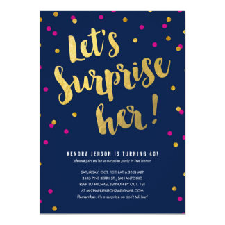 Gold Lettering Surprise Party Invitations for Her