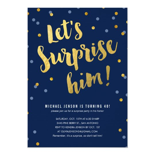 gold lettering surprise party invitations for him | zazzle, Party invitations