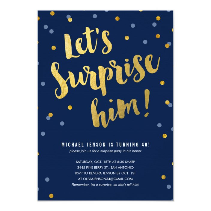 Surprise Party Invitations For Him