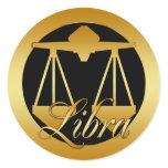 GOLD LIBRA ZODIAC SIGN CLASSIC ROUND STICKER