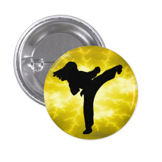 Gold LIghtning Girl pinback button