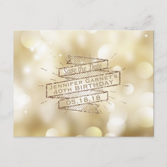 gold lights save the date elegant birthday party announcement