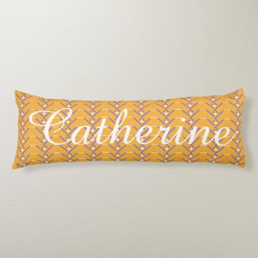Beach Themed Gold & Lilac, Personalized w Name Body Pillow