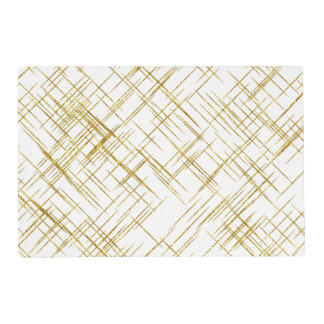 Gold Line Faux Foil Sequin Lines Background Design Placemat