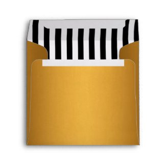 Gold Lined with Black White Stripes envelope