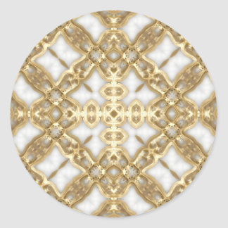 Gold Link Cross Classic Round Sticker