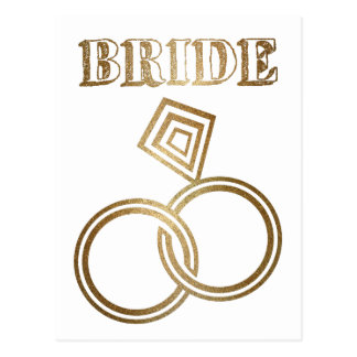 Gold Linked Rings Bride Wedding Postcard