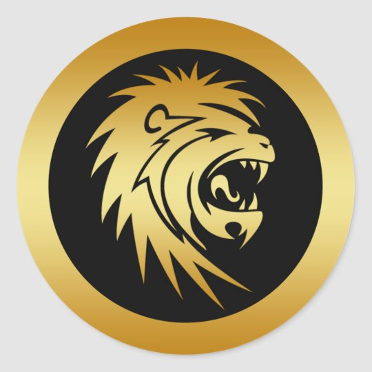 gold lion head classic round sticker