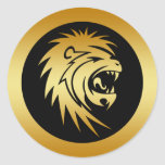 GOLD LION HEAD STICKERS