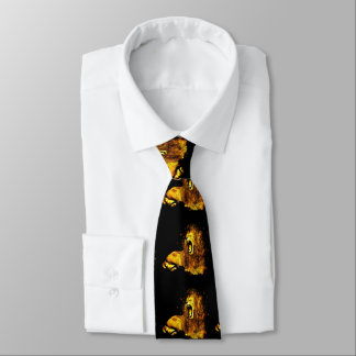 Gold Lion Print on Black Men's Necktie