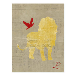 Gold Lion Silhouette  Monogram Postcard