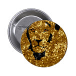 Gold Lion With Silver Pinback Button