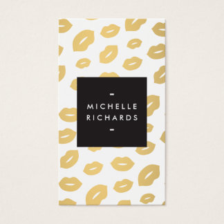 Gold Lip Print Makeup Artist Beauty White Business Card