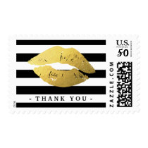 Gold Lips Black White Stripes Thank You Card Postage