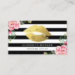 """Gold Lips Floral Black White Stripes Makeup Artist Business Card<br><div class=""""desc"""">Create your own business card with this &quot;Gold Lips Floral Black White Stripes&quot; template. It&#39;s easy and fun! (1) For further customization, please click the &quot;Customize&quot; button and use our design tool to modify this template. All text style, colors, sizes can be modified to fit your needs. (2) If you...</div>"""