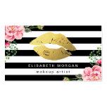 Gold Lips Floral Black White Stripes Makeup Artist Business Card