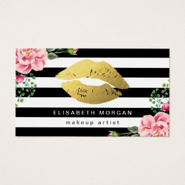 CardHunter Gold Lips Floral Black White Stripes Makeup Artist Business Card