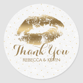 Gold Lips Kiss & Gold Dots Thank You Classic Round Sticker