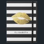 """Gold Lips Kiss XOXO Black White Stripes iPad Pro 12.9&quot; Case<br><div class=""""desc"""">Protect your iPad in Style with this &quot;Gold Lips Kiss Black White Stripes&quot; Personalized Case. You can add your text or monogram on this design. This personalized case will be printed on-demand and just for you!</div>"""
