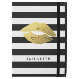 "Gold Lips Kiss XOXO Black White Stripes iPad Pro 12.9"" Case"