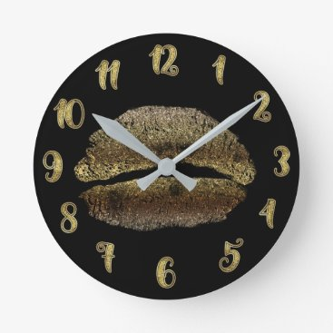 Gold Lips Lipstick Kiss Glamour Glam Chic Round Clock