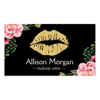 Gold Lips Makeup Artist Beautiful Flower Wrapping Business Card