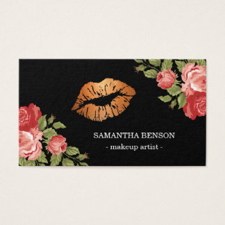 Gold Lips Makeup Artist Floral Business Card
