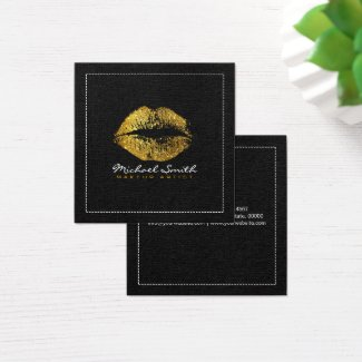 Gold Lips Makeup Artist Modern Black Burlap Square Business Card