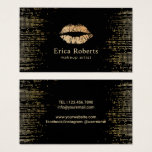 Gold Lips Makeup Artist Modern Black & Gold Salon Business Card