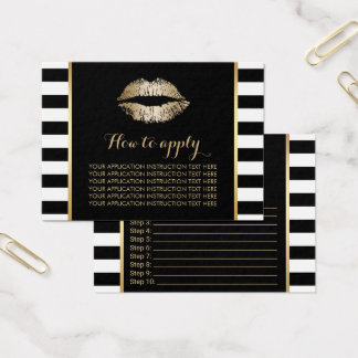 Gold Lips Modern Stripes Application Instructions Business Card