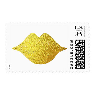 gold lips . mouth . golden kiss postage