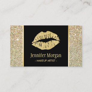 Lips business cards zazzle gold lips trendy glitter sparkles makeup artist business card colourmoves