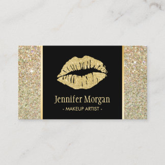 Gold Lips Trendy Glitter Sparkles Makeup Artist Business Card