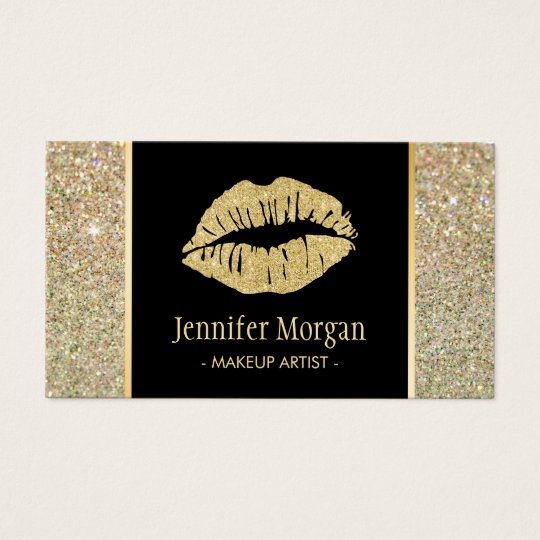 Gold Lips Trendy Glitter Sparkles Makeup Artist Business