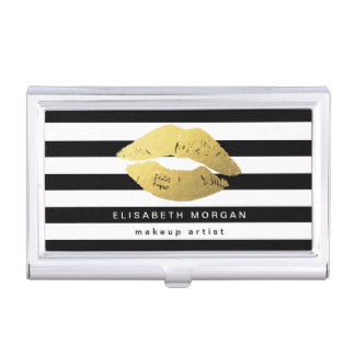 Gold Lips with Black White Stripes - Makeup Artist Case For Business Cards