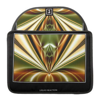Gold Liquid Reaction Fractal Abstract MacBook Pro Sleeves