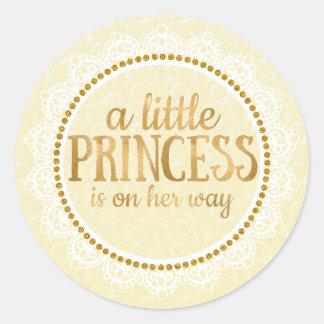 Gold Little Princess Baby Shower Sticker