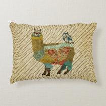 Gold Llama & Blue Owl Pillow