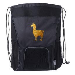 Gold Llama Drawstring Bag
