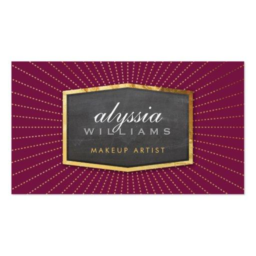 GOLD LOGO art deco elegant sunburst gray burgundy Business Card Templates