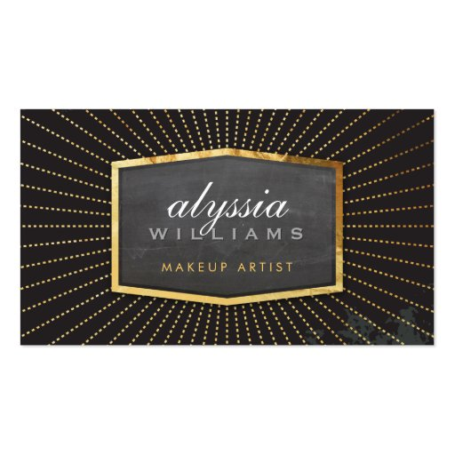 GOLD LOGO art deco elegant sunburst smart black Business Card Template
