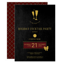 Gold Logo Barber Shop Christmas Open House Party Invitation