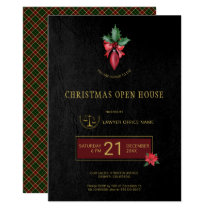 Gold Logo Lawyer Office Christmas Open House Party Invitation
