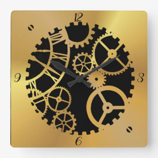 Gold Look Gears Square Wall Clock